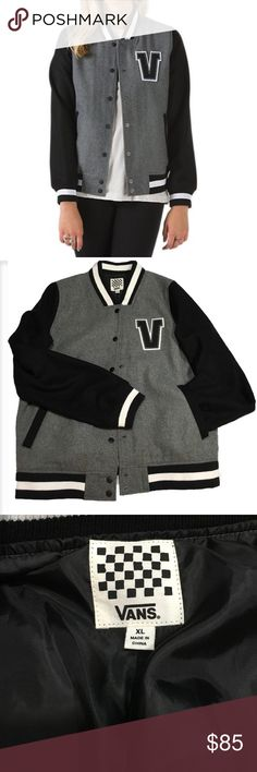 Vans Pryce jacket Varsity style wool blend Vans jacket in heather and charcoal. Lined see photo for fabric content. Snap closure Vans Jackets & Coats