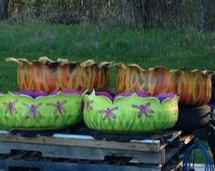 Tire planters  matching set -fire tire and dragon flies
