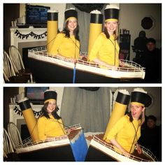Two-Person Costumes Guaranteed To Up Your Halloween Game The RMS Titanic Two People Halloween Costumes, Two Person Costumes, Original Halloween Costumes, Clever Halloween Costumes, Funny Halloween Costumes, Homemade Halloween, Zombie Costumes, Halloween Couples, Homemade Costumes