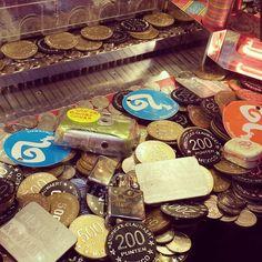 Coin pusher at the fun fair. #coinpusher #funfair #coins