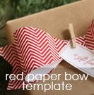 free printable: paper bow template on red + white chevron paper  {also comes in yellow or other patterns}