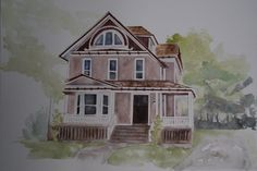 Our homes hold a special place in our hearts, commemorate your first, current or vacation home with a custom watercolor painting. These are done with watercolor on large, acid free, heavy weight watercolor paper 18x24. This large size allows for me to capture lots of details from your