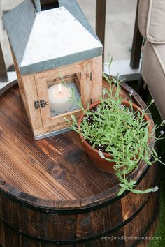 Use an upturned barrel planter as a side table on your outdoor patio. Deck Makeover, Faux Grass, Barrel Planter, Small Outdoor Spaces, Inside Outside, Backyard, Patio, Diy Hacks, Terrarium