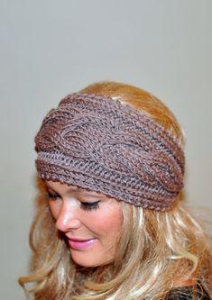 Earwarmer Cabled Ear Warmer Winter Crochet Headband Chunky Ear warmer CHOOSE COLOR Taupe Brown Cappuccino Warm Hair Band Christmas Gift