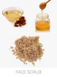 Face Scrub---Exfoliate the natural way with a DIY face scrub. Brown sugar works to gently slough off dry skin, while honey and vitamin E containing almond oil help retain moisture.