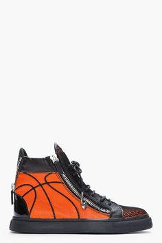 GIUSEPPE ZANOTTI Orange & Black Leather Basketball Sneakers