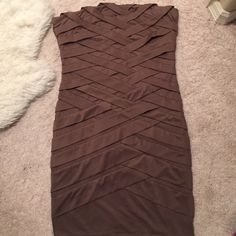 Nude forever 21 bandage dress Worn once. Dark taupe color. Has rubber on the bust line so it can be worn strapless but comes with ONE adjustable/ detachable strap that is to be worn halter style. Size medium comes just above the knee Forever 21 Dresses Mini