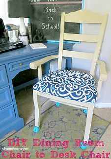 Turn an Ordinary Dining Chair Into a Desk Chair With Casters! Turn an Ordinary Dining Chair Into a Desk Chair With Casters! Ikea Chair, Diy Chair, Diy Desk, Chair Redo, Cafe Chairs, Dining Room Chairs, Desk Chairs, Office Chairs, High Chairs