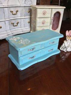 Wooden Jewelry Box // Shabby Chic Jewelry Box // Upcycled Jewelry Chest by ByeByBirdieDesigns on Etsy https://www.etsy.com/listing/456177488/wooden-jewelry-box-shabby-chic-jewelry