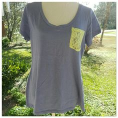 Boutique tshirt - read description Purple tshirt with lime yellow lace pocket.  Short sleeves.   Vneck. 20 bust 25 length size 2x.  Runs very small.  Please read measurements.   Fits more like a large xl boutique  Tops Tees - Short Sleeve
