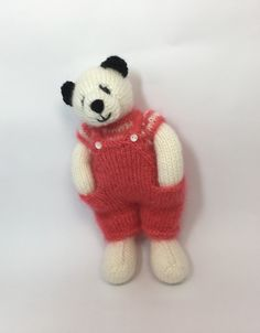 Excited to share this item from my shop: Knitted bear Doll Patterns, Knitting Patterns, Crochet Patterns, Origami, Little Cotton Rabbits, Knitted Animals, Rabbit Toys, Etsy Uk, Knitted Dolls