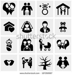 Family vector icons set on gray  - stock vector