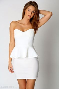 White peplum dress - obsessed with peplum! This would be perfect for the dress rehersal or shower or even honeymoon dinner night Dresses For Sale, Nice Dresses, Ivory Cocktail Dress, Cocktail Dresses, White Dress Winter, Winter White, Rehearsal Dinner Dresses, Wedding Rehearsal, Rehearsal Dinners