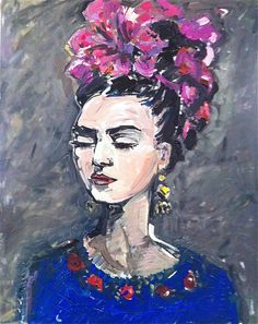 Title: Frida con Rosas    Print of original painting by M.Devine. Printed on beautiful white MATTE medium weight paper using archival quality inks. Your print will arrive in a cello sleeve in a cardboard backed envelope. White border, signed in pencil script just below image. Larger prints will arrive in a mailing tube.  This is a large and abstract PRINT. She is looking off and down as she does in so many of her photos. Frida has fuchsia ribbons in her hair and is wearing a traditional…