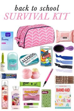 DIY Back to School Survival Kit Whether you or your kids are headed into middle school, high school, or college, there are a few key items they'll need easy access to in order to survive the school year! I'm sharing all the tips for. Middle School Hacks, High School Hacks, Life Hacks For School, Back To School Tips, High School Essentials, Back To School Organization For Teens, Locker Essentials, College Backpack Essentials, Middle School Lockers