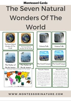 The Seven Natural Wonders Of The World Montessori Cards   Montessori Inspired Printables   Preschool Activities   Learning about natural world   Earth Day Activity   Montessori Nature Blog