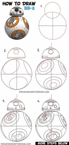 How to Draw BB-8 (Beeby-Ate) the Ball Droid from Star Wars Step by Step Drawing Lesson: