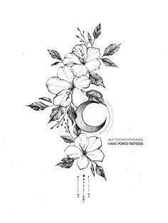 Flowers&Moon by Arlette Beerenfenger - flowe.- Flowers&Moon by Arlette Beerenfenger – flower tattoos Flowers&Moon by Arlette Beerenfenger - Small Flower Tattoos, Flower Tattoo Designs, Small Tattoos, Tattoo Flowers, Moon Tattoo Designs, Floral Tattoo Design, Mini Tattoos, Body Art Tattoos, Sleeve Tattoos