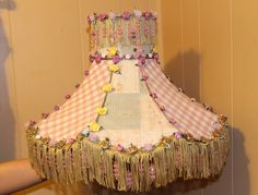Lamp Shade Shabby Chic Tassles Beads Flowers by QuiltsSale on Etsy, $65.99