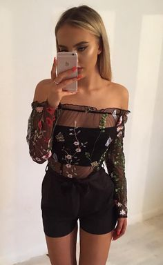 Off Shoulder Embroidery Mesh Playsuit