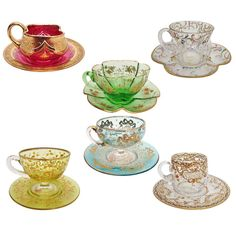 Set of Six Individual Moser Cups and Saucers Gilt and Enameled Glass Wall Lights, Glass Wall Art, Glass Coffee Cups, Crystal Glassware, Stained Glass Designs, Tea Art, Venetian Glass, My Cup Of Tea, Tea Cup Saucer