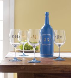 Monogram wine glasses and decorate bottles with my new line of glass paints.