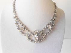 Rhinestone Necklace Vintage Jewelry Wedding by LittleBitsofGlamour, $34.00