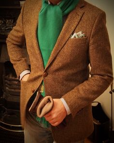 Classic blazer and cashmere scarf.