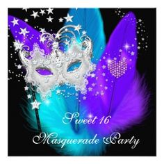 Sweet 16 Party Mask Teal Purple Silver Masquerade 5x7 Paper ...