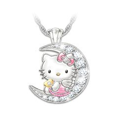 Want to delight that special Hello Kitty® fan with something that sparkles like the light of the stars and moon? Treat them to this Hello Kitty pendant necklace! Introducing the I Love You To The Moon And Back Hello Kitty Pendant Necklace, an official Hello Kitty Jewelry, Hello Kitty Items, Hello Kitty Clothes, Hello Kitty Accessories, Accessories Shop, Diamond Bar, Diamond Solitaire Necklace, Diamond Jewelry, Crystal Pendant