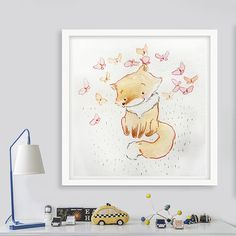 Nursery Art, Custom Name, New Baby Gift, Nursery Decor, Woodland nursery, Fox watercolor painting, Baby Shower Gift, forest animal, Fox art.