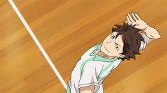 Nishinoya receiving Oikawa's serve, slowmo, even better~