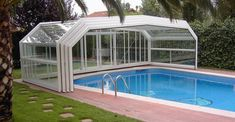 Swimming Pool With Ladder And Glass Enclosure : Enclosures For Swimming Pools