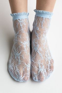 Women New Hezwagarcia Nylon Spandex Floral Mesh Sheer Lace 4 Colors Ankle Nylon Socks Hosiery