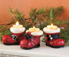 Santa's Boot Tea Light Holders - would be cute on my mantle