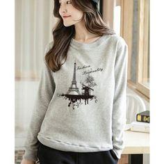 Eiffel Tower sweatshirts romantic windmill graphic crew neck sweatshirt