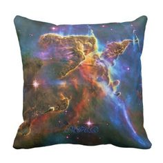 Monogram Carina Nebula Pillars of Creation Throw Pillow #spacemad #outerspace #astronauts