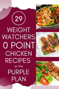 Here are 29 Weight Watchers Purple Plan 0 SmartPoint Chicken Recipes that are perfect for lunch or dinner. Weight Watcher Dinners, Plan Weight Watchers, Poulet Weight Watchers, Weight Watchers Chicken, Weight Loss Meals, Weight Watcher Recipes Easy, Easy Chicken Recipes, Easy Healthy Recipes, Easy Dinner Recipes