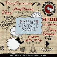 Free printable vintage Christmas kit.