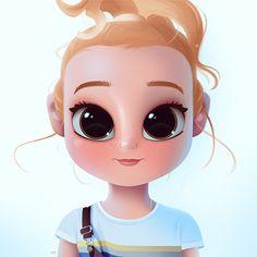 Cartoon, Portrait, Digital Art, Digital Drawing, Digital Painting, Character Design, Drawing, Big Eyes, Cute, Illustration, Art, Girl, Ruby, Rose, Turner, Overall, Blonde