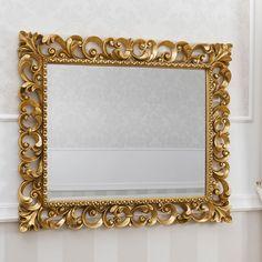 Specchiera cornice traforata Barocco foglia oro specchio molato