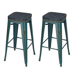 Home's Art 30 inches Aquamarine Color Tolix-Style Metal Counter Stool Industrial Chair with PU Cushion Set of 2