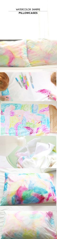 Sharpie Pillowcases Create beautiful watercolor pillowcases using just Sharpies and alcohol! beautiful watercolor pillowcases using just Sharpies and alcohol! Watercolor And Sharpie, Sharpie Art, Sharpies, Sharpie Crafts, Sharpie Markers, Crafts To Do, Crafts For Kids, Arts And Crafts, Fabric Crafts