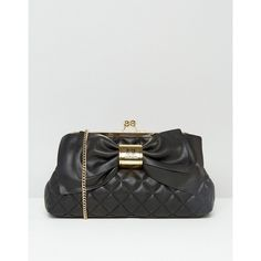 Love Moschino Quilted Bow Clutch Bag (15.185 RUB) ❤ liked on Polyvore featuring bags, handbags, clutches, black, locking purse, imitation handbags, love moschino purse, quilted purses and bow purse