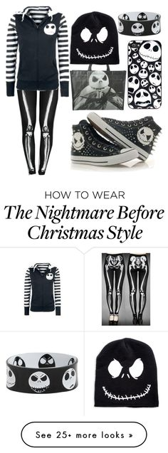 """Nightmare Before Christmas"" by n7vaultdweller on Polyvore featuring Converse"