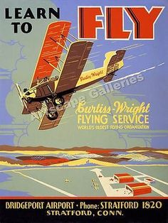 """""""Learn to Fly"""" 1930's Vintage Style Aviation Poster - 22x28"""