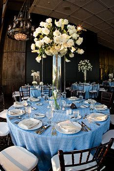 Wedding, Blue, Centerpieces, Tables, Linens, Soireebliss, Scapes