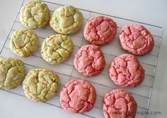 "How to Make Cake Mix Cookies  Ingredients:      1 (18.25 oz) box of cake mix- any kind. (The cookies pictured here were made using a strawberry cake mix and a Funfetti cake mix)     2 Eggs     1/3 c. Vegetable Oil   Directions:      Heat oven to 375.     Mix cookie ingredients together.     Put 1 inch ""globs"" onto cookie sheet about 1 inch apart.     Cook for 7-9 minutes or until the edges start to brown."