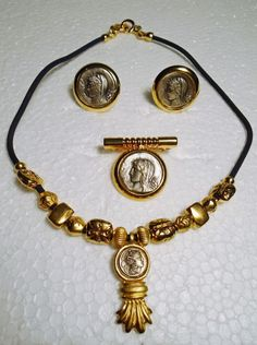 Vtg Greek Coin Necklace Pendant Brooch and CLip on Earrings Gold and Silver tone #Unbranded