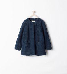 Round neck coat with printed lining Zara Girls AW 14